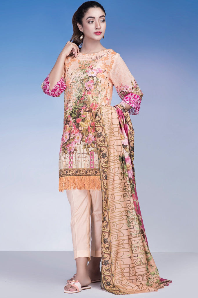 Pret - 3PC Lawn Kashmiri Embroidery LS18222 - Warda Designer Collection