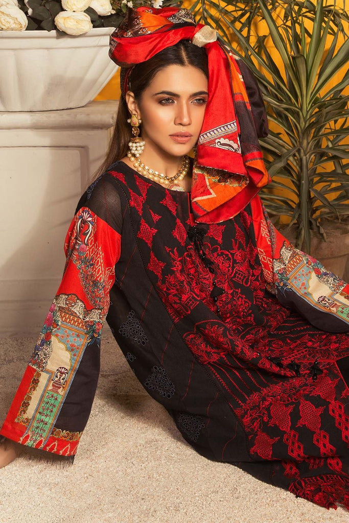 Warda Designer Collection - Eminent Spray 3PC Melange Embroidery 3819106