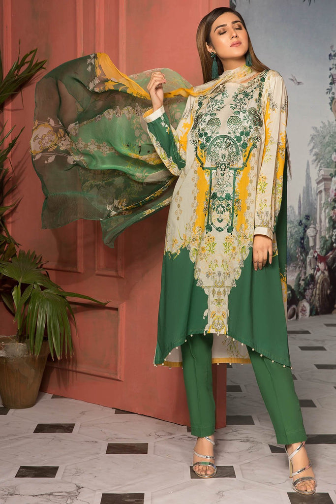 Warda Designer Collection - 3PC Lawn Embroidery with Bamber Dupatta 3819064