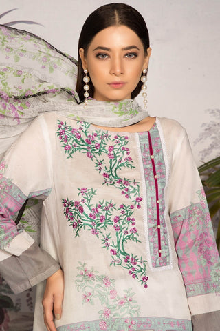 Unstitched - 3PC Lawn Embroidery with Chiffon Dupatta 389052A - Warda Designer Collection