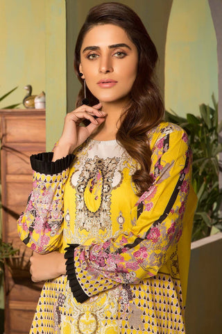 Unstitched - 2PC Lawn Print with Trouser 2559006 - Warda Designer Collection