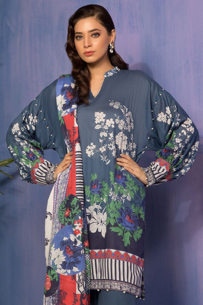 Warda Designer Collection - 3PC Lawn Print with Net Dupatta 3819049