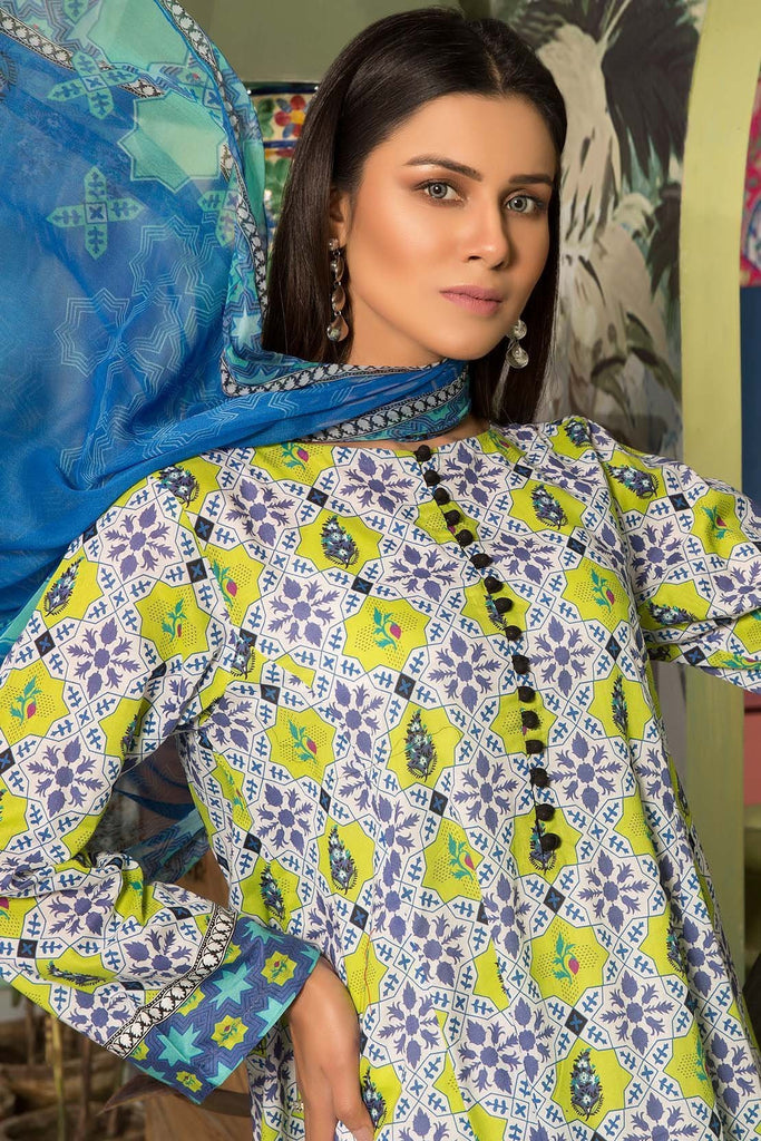Warda Designer Collection - 3PC Lawn Print with Chiffon Dupatta 7.5 Meters 3819047