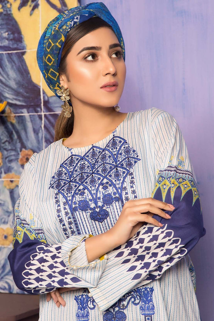 Unstitched - 2PC Lawn Embroidery with Chiffon Dupatta 259018A - Warda Designer Collection