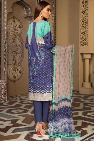 Warda Designer Collection - Melange Embroidery Azure Trim 3819274