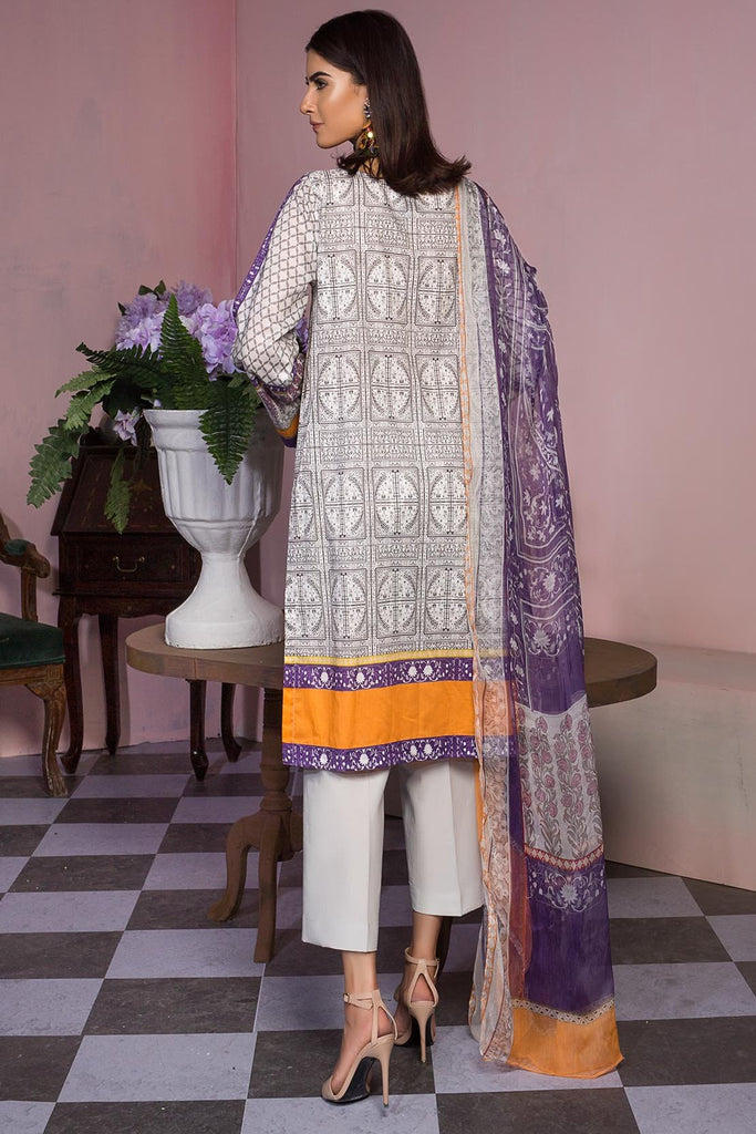 Warda Designer Collection - 3PC Lawn Embroidery with Bamber Dupatta 389415A