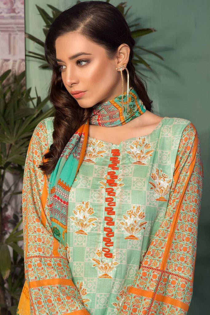 Warda Designer Collection - 3PC Lawn Embroidery with Chiffon Dupatta 3819051