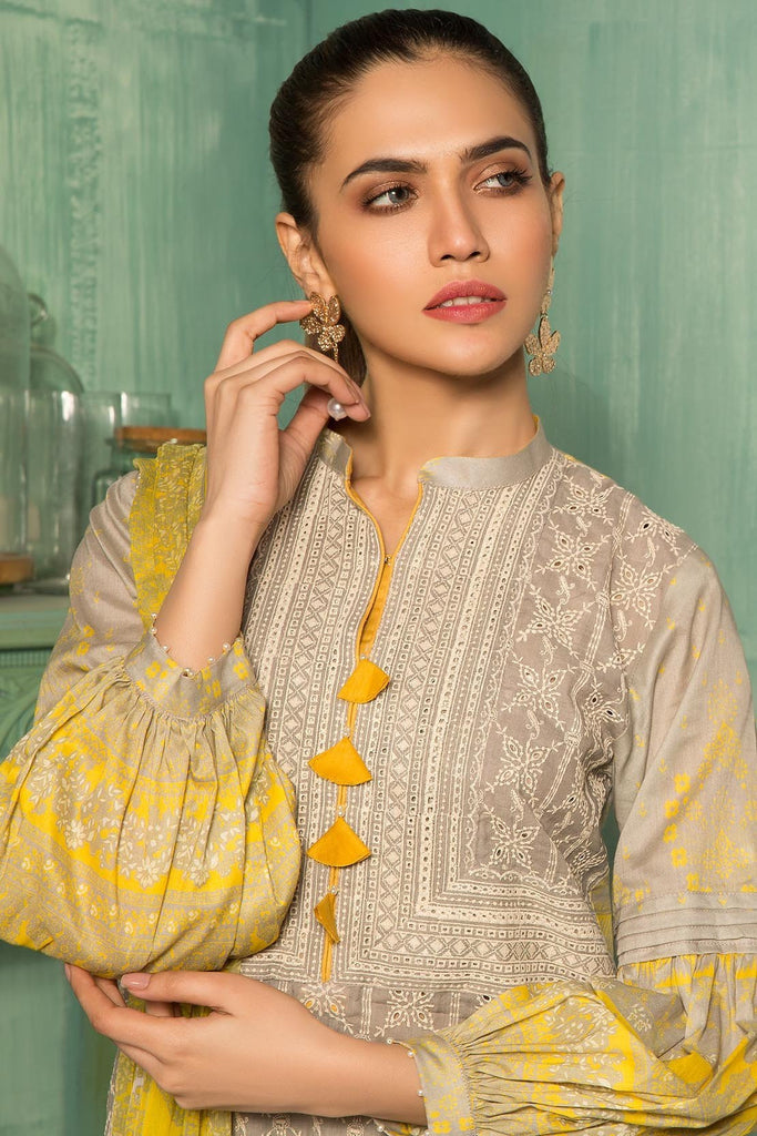 Unstitched - 3PC Lawn Chikan Kari with Chiffon Dupatta 389072A - Warda Designer Collection