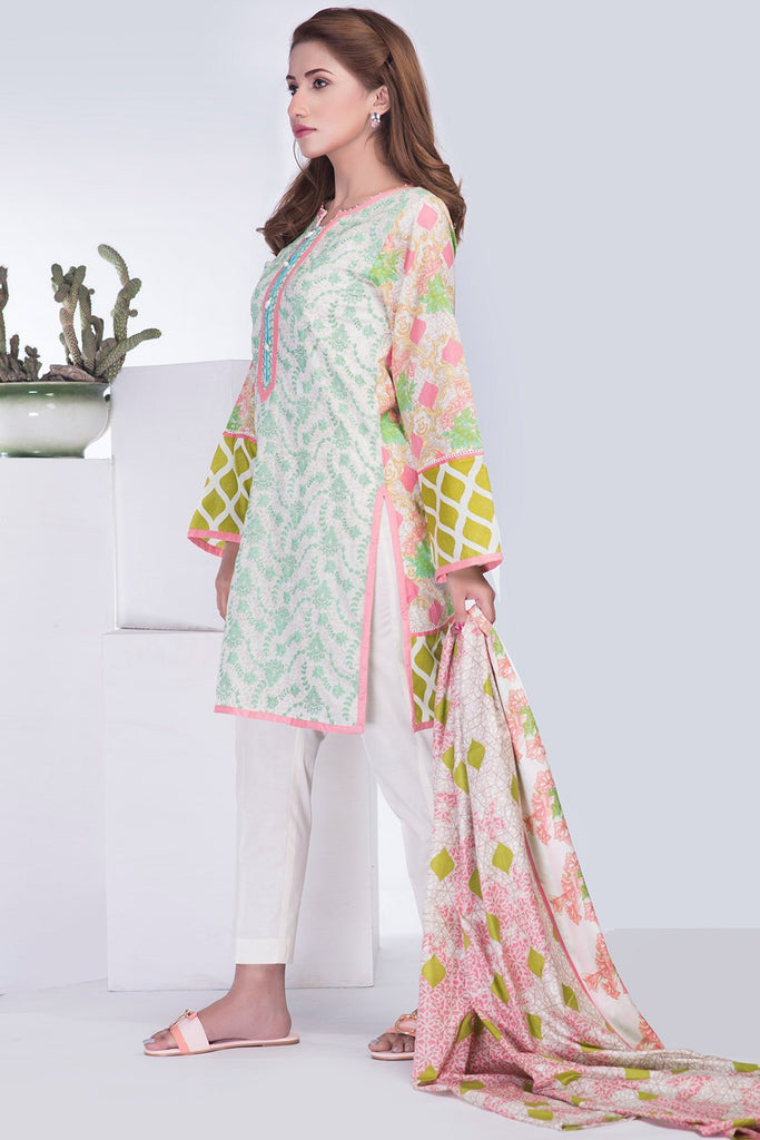 3PC Lawn Print Chikan Kari LS18310 - Pret - Warda Designer Collection