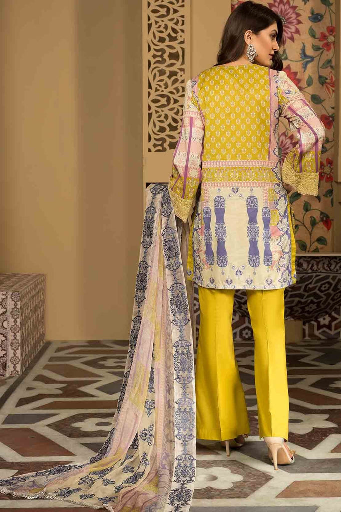 Warda Designer Collection - 3PC Lawn Chikan Kari with Printed & Embroidered Chiffon Dupatta 3819336