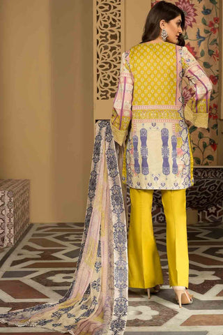 3PC Lawn Chikan Kari with Printed & Embroidered Chiffon Dupatta 3819336 - Unstitched - Warda Designer Collection