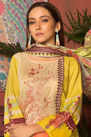 Unstitched - 3PC Lawn Embroidery 3819061 - Warda Designer Collection