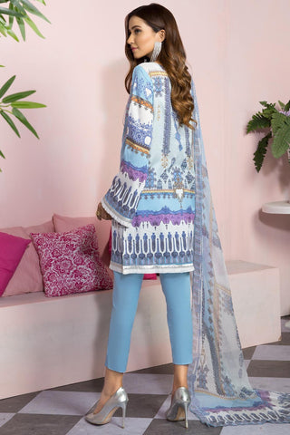 Warda Designer Collection - 3PC Lawn Embroidery with Bamber Dupatta 389414A