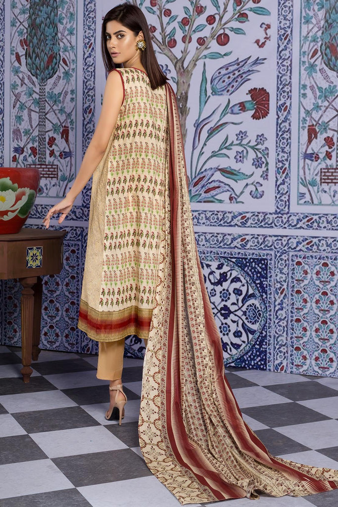 Warda Designer Collection - 3PC Lawn Chikan Kari 3819260