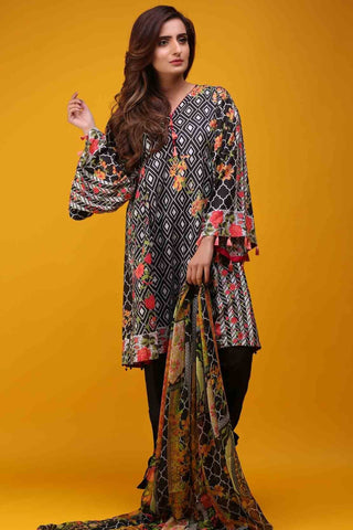 Warda Designer Collection - 3PC Chiffon Lawn Print 3817089
