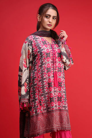 Warda Designer Collection - 3PC Chiffon Lawn Print 3818025