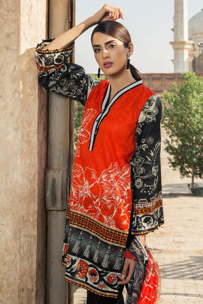 2PC Lawn Embroidery with Chiffon Dupatta 3818348 - Unstitched - Warda Designer Collection