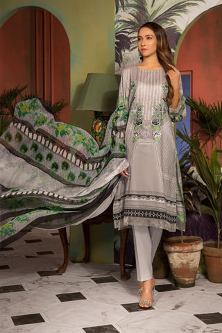 Unstitched - 3PC Lawn Embroidery with Chiffon Dupatta 3819055 - Warda Designer Collection