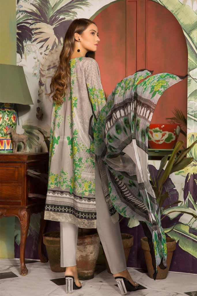 Warda Designer Collection - 3PC Lawn Embroidery with Chiffon Dupatta 3819055