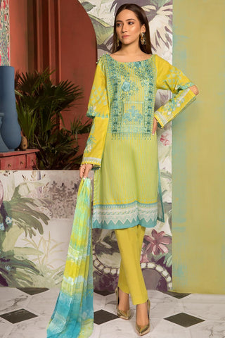 3PC Lawn Embroidery with Bamber Dupatta 3819062 - Unstitched - Warda Designer Collection