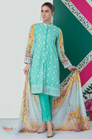 Warda Designer Collection - 3PC Lawn Chikan Kari with Chiffon Dupatta 3819071