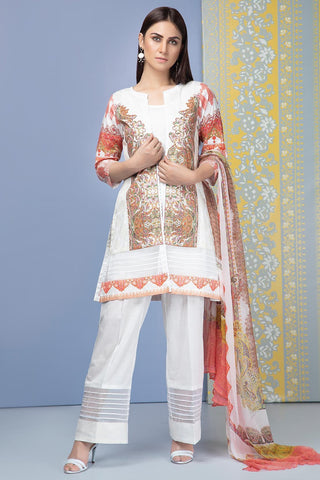 Unstitched - 3PC Digital Chikan Kari 3819073 - Warda Designer Collection