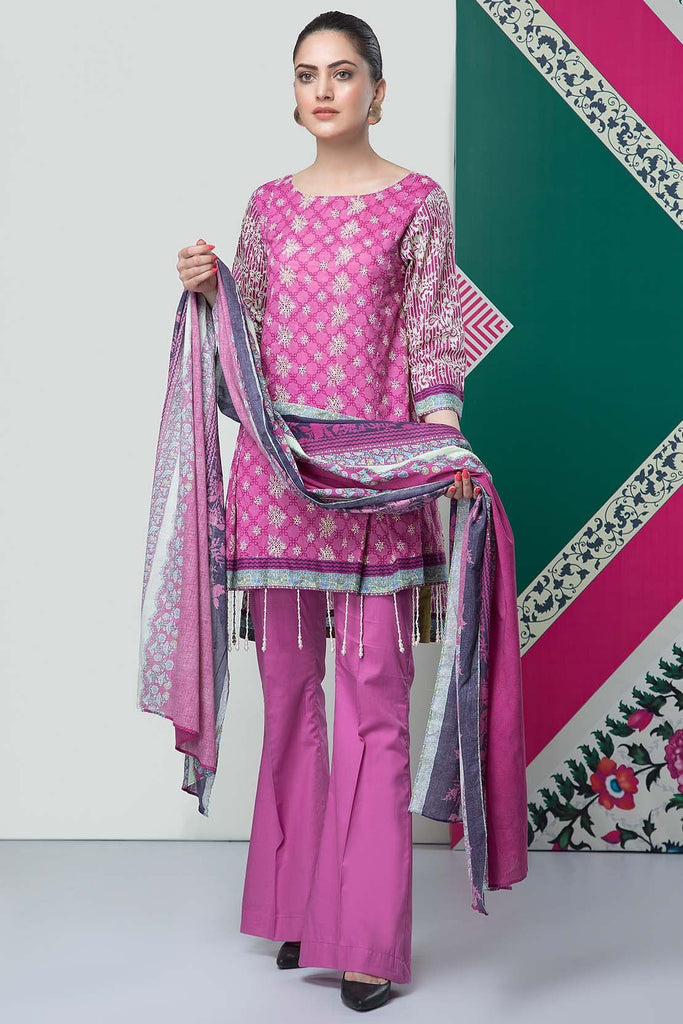 Warda Designer Collection - 3PC Lawn Chikan Kari 3819083