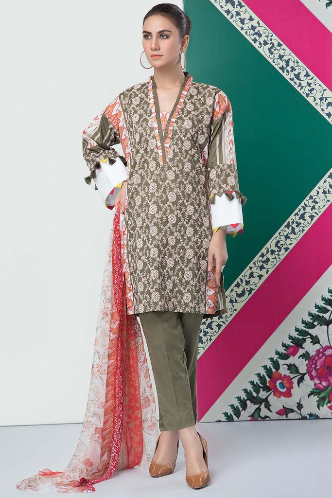 Warda Designer Collection - 3PC Lawn Chikan Kari with Printed & Embroidered Chiffon Dupatta 3819154