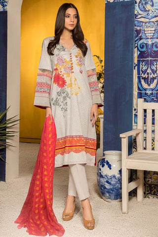 3PC Lawn Print with Embroidered Bamber Dupatta 3819160