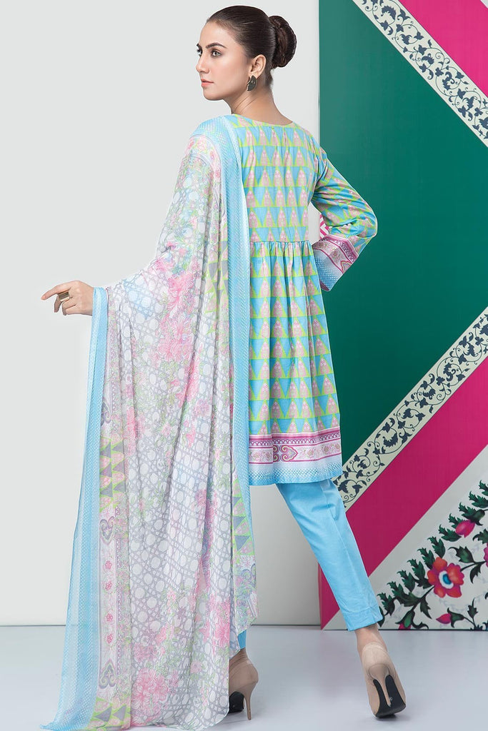Warda Designer Collection - 3PC Lawn Print with Chiffon Dupatta 7.5 Meters 3819224