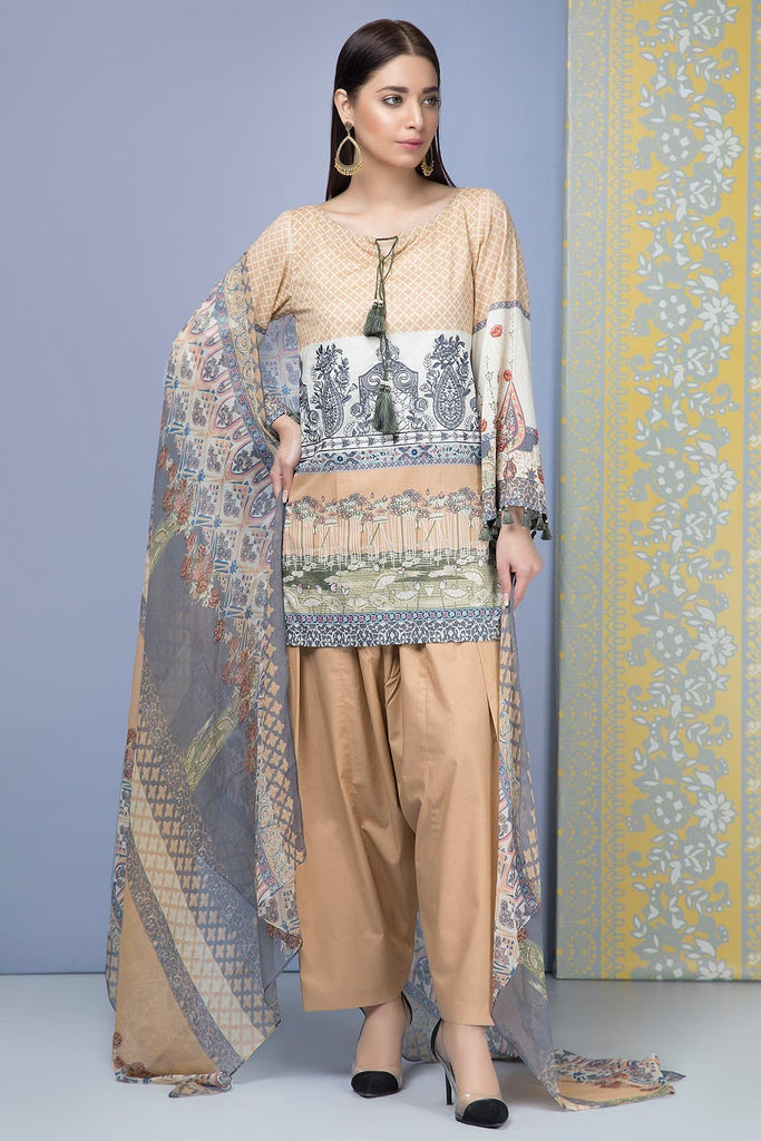 Warda Designer Collection - 3PC Lawn Embroidery with Chiffon Dupatta 3819229