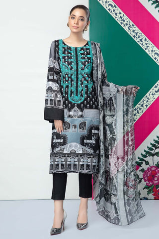 Warda Designer Collection - 3PC Lawn Embroidery with Chiffon Dupatta 3819230