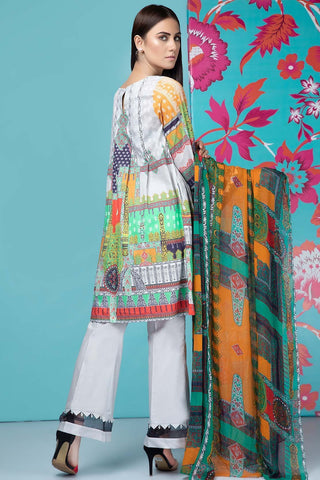 Unstitched - 3PC Lawn Embroidery with Chiffon Dupatta 3819233 - Warda Designer Collection