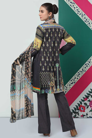Unstitched - 3PC Lawn Embroidery with Chiffon Dupatta 3819234 - Warda Designer Collection