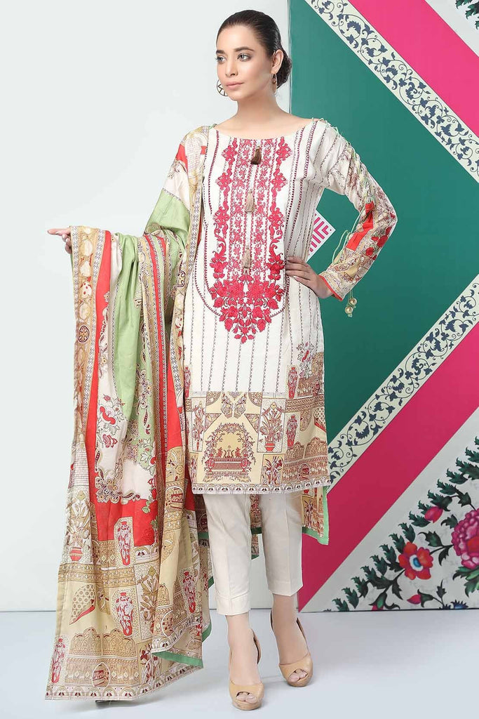 Warda Designer Collection - 3PC Lawn Embroidery 3819237