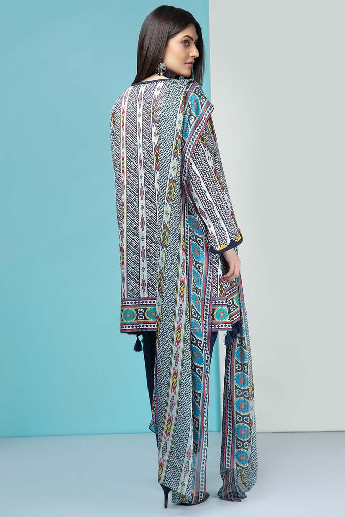 Warda Designer Collection - 3PC Lawn Print with Chiffon Dupatta 7.5 Meters 3819551