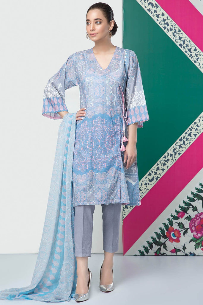 3PC Lawn Print with Chiffon Dupatta 389042A