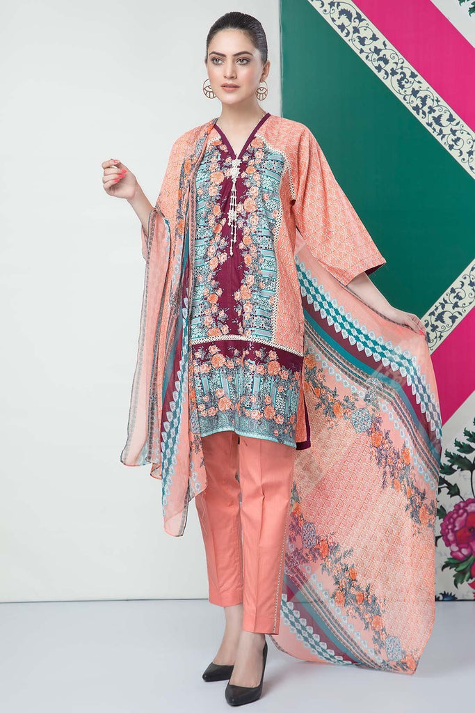 Warda Designer Collection - 3PC Chiffon Lawn Print  with Chiffon Dupatta 7.5 Meters 389046A