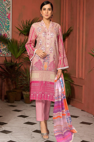 Unstitched - 3PC Lawn Embroidery with Chiffon Dupatta 389051A - Warda Designer Collection