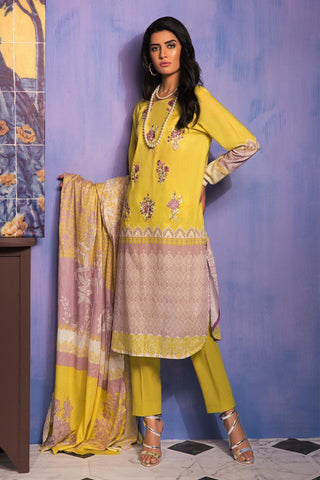 Unstitched - 3PC Lawn Embroidery 389059A - Warda Designer Collection