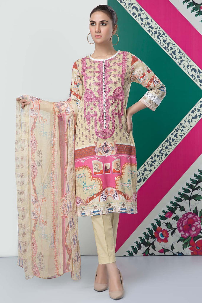 Warda Designer Collection - 3PC Lawn Embroidery with Chiffon Dupatta 389230A