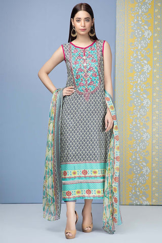 Unstitched - 3PC Lawn Embroidery with Chiffon Dupatta 389552A - Warda Designer Collection