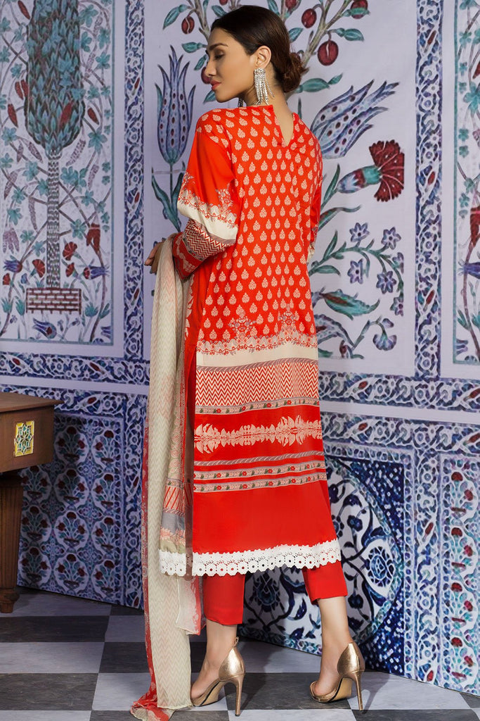 Warda Designer Collection - 3PC Lawn Print with Crinkle Chiffon Dupatta 3819395