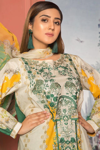 3PC Lawn Embroidery with Bamber Dupatta 3819064 - Unstitched - Warda Designer Collection
