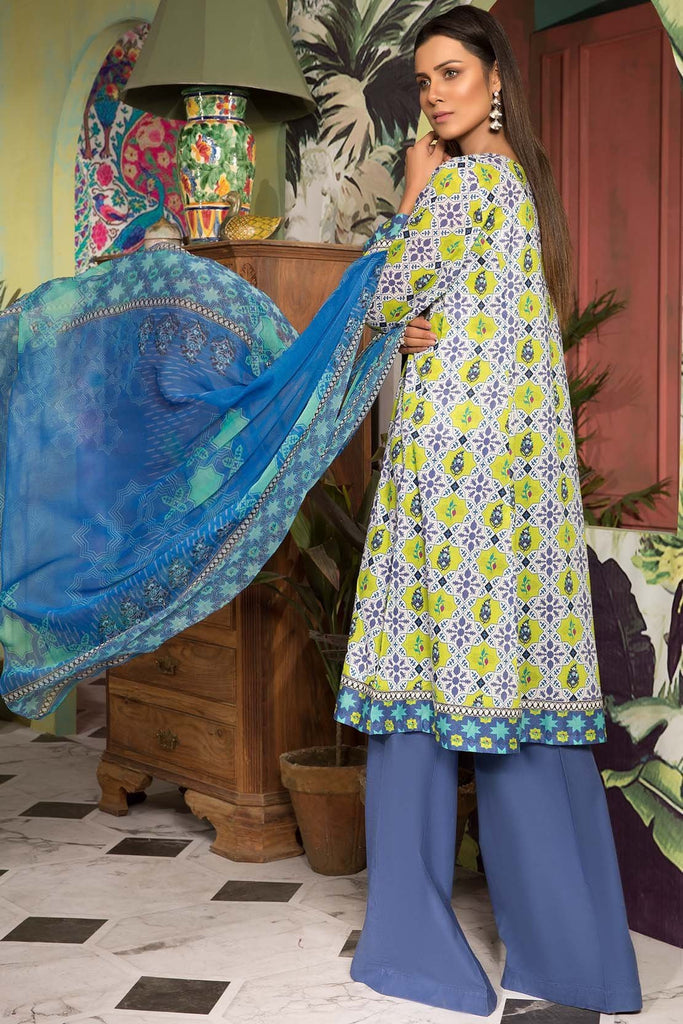 3PC Lawn Print with Chiffon Dupatta 7.5 Meters 3819047