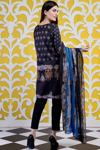 Warda Designer Collection - 3PC Lawn Chikan Kari with Printed & Embroidered Chiffon Dupatta 3819499
