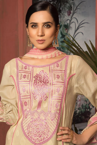 Unstitched - 3PC Brosha  Embroidery with Chiffon Dupatta 3819092 - Warda Designer Collection