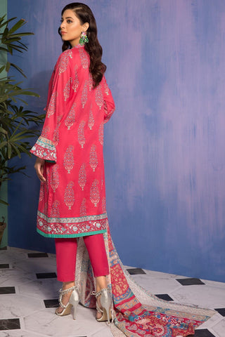 Warda Designer Collection - 3PC Lawn Print with Embroidered Bamber Dupatta 3819162