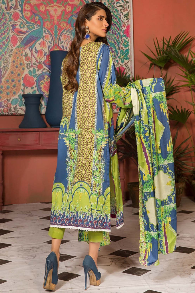 Warda Designer Collection - 3PC Lawn Print with Net Dupatta 389050A