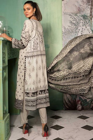 Warda Designer Collection - 3PC Lawn Chikan Kari with Chiffon Dupatta 3819072